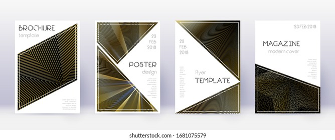 Triangle brochure design template set. Gold abstract lines on black background. Bold brochure design. Glamorous catalog, poster, book template etc.