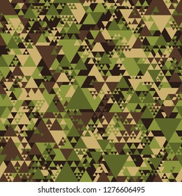 Triangle camouflage seamless pattern. Abstract modern geometric tiles military camo texture background. Fabric and fashion print endless texture. Vector illustration.