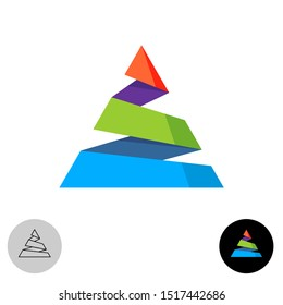 Triangle colorful abstract logo. Spiral cutted mountain vivid colors symbol. Papper ribbon of solid color peak sign.