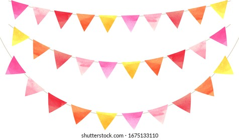 triangle colorful flag garland ,red,yellow,pink,orange