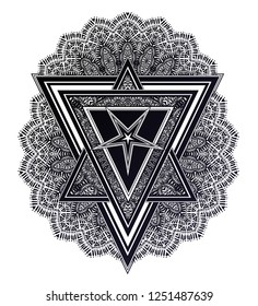 Triangle composition with ornate pattern and satanic pentagram star. Alchemy, religion, spirituality, occultism art. Isolated vector illustration. Abstract ethnic tattoo vector ornament.