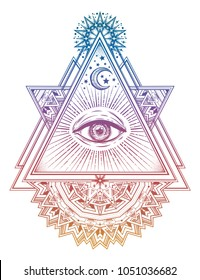 Triangle composition with sacred geometry eye. Vision of God Providence. Alchemy, religion, spirituality, occultism art. Isolated vector illustration. Conspiracy theory. Drawing in flash tattoo style.