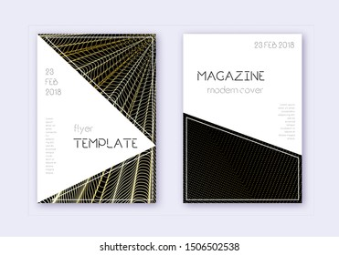Triangle cover design template set. Gold abstract lines on black background. Immaculate cover design. Uncommon catalog, poster, book template etc.