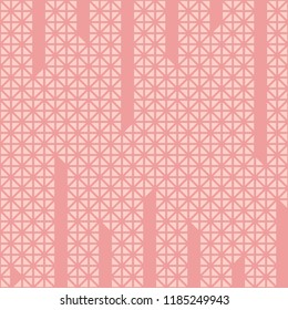 Triangle cuts vertical line pattern vector. Mosaic light pink and pink background. Design print for textile, wallpaper, background. Set 3