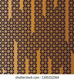 Triangle cuts vertical line pattern vector. Mosaic black and gold background. Design print for textile, wallpaper, background. Set 7