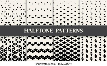 Triangle and diamond halftone geometric pattern set.