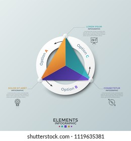 Triangle divided into 3 colorful parts inside paper white ring, thin line symbols and text boxes. Cyclical diagram with three options. Modern infographic design template. Vector illustration.