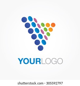 Triangle dots logo. Generic vector logo, with blue, orange and green colors. Abstract colorful logo.