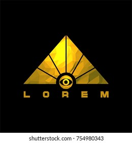 Triangle egyptian golden pyramid with eye