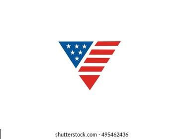 triangle flag american vector icon logo