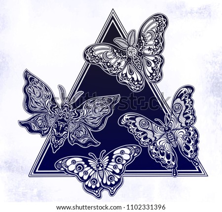 6ee2b942d0465 A triangle frame of butterflies or moths. An element of fantasy style  ornate insects. Isolated vector illustration. Decorated wings. Magic, tattoo  art ...
