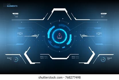Triangle Futuristic HUD Concept. Sci-Fi Technology Design