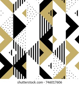 Triangle geometric abstract golden seamless pattern. Vector background of black, white and gold triangular pattern or square swatch ornament texture or mosaic design backdrop tile template.