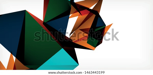Triangle geometric background in trendy style on light background. Retro vector illustration. Colorful bright. Trendy modern style. Vector business illustration. Geometric template.