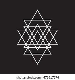 Triangle geometric element, line design. Vector illustration