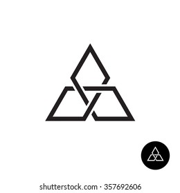 Triangle geometric knot outline logo. Black corner shape network sign.