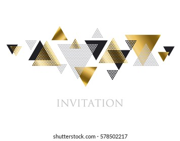triangle geometry abstract vector illustration for header, invitation, banner, card. concept gold luxury new retro style dynamic pattern composition for poster