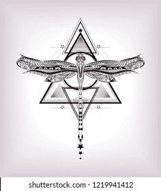 Triangle with hand drawn dragonfly. Sacred geometry. Unalome.
