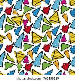 Triangle hand drawn vector seamless pattern. Gaudi mosaic pattern and word Barcelona. Antonio Gaudi pattern. Barcelona pattern