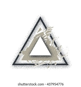 Triangle illustration. Vector art. Grunge graphic style. Dotwork and blackwork tattoo technique.