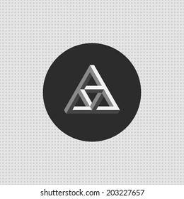 Triangle impossible icon. Penrose symbol. Minimal icon, with seamless dots pattern. Easy to edit. Vector illustration - EPS10.
