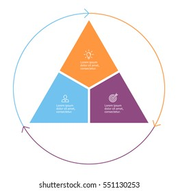 Triangle for infographics with 3 steps, sections.