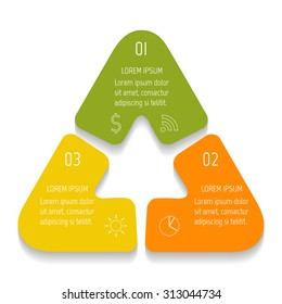 triangle infographics design templates with 3 parts triangle banner with options template for diagram