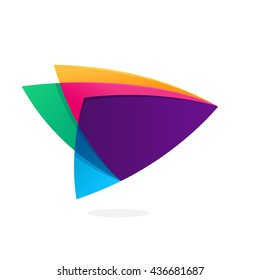 Triangle intersection icon. Multicolor vector for corporate identity, card, labels or posters.