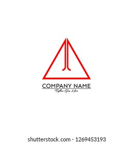 triangle jj logo letter design concept in red color