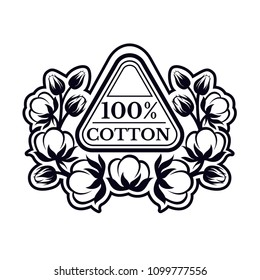 Triangle label with pattern from cotton plant. Logo for textile, fabric, cloth or business.