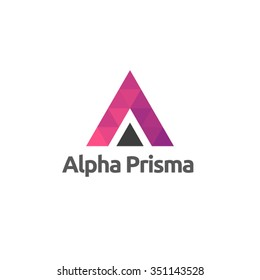 Triangle letter A logo template. Alpha purple sign.