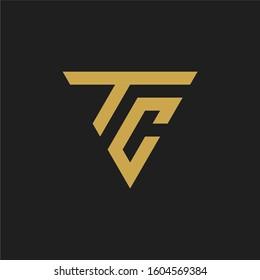 Triangle letter TC logo design template