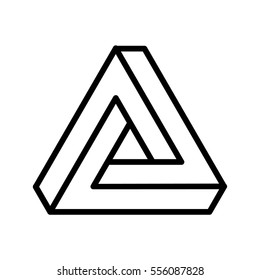 Triangle Logo Abstract Infinite impossible loop vector design template. Corporate icon logotype. Logic Puzzle. Infinite Triangular ring