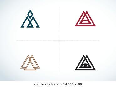 Triangle logo. All Seeing Eye icons set. Illuminati symbol. Minimal geometry. Letter M and A Triangle Emblem.