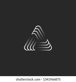 Triangle logo alliance symbol, infinity geometric shape, black and white overlapping thin lines hipster pyramid form