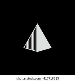 Triangle logo. Arrow head. Minimal geometry. Black background. Stock vector.