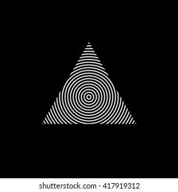 Triangle logo. Circles. Minimal geometry. Black background. Stock vector.