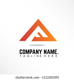 Triangle logo concept with initial letter af orange object