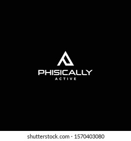 Triangle logo design of letter P and E with black background - EPS10 - Vector.