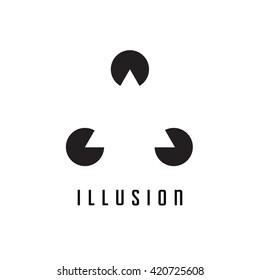 Triangle logo. Illusion. Minimal geometry. White background. Stock vector.
