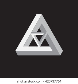 Triangle logo. Impossible. Minimal geometry. Black background. Stock vector.