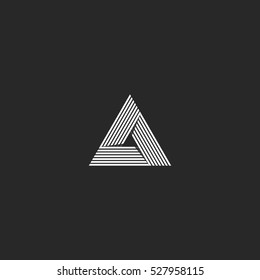 Triangle logo isometric, infinity sharp corner geometric shape illusion, hipster monogram converge overlapping line infinite cyber tech icon, innovation tech delta emblem.