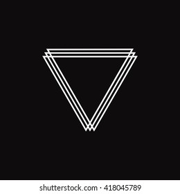 Triangle logo. Minimal geometry. Black background. Stock vector.