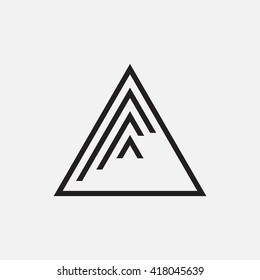 Triangle logo. Minimal geometry. Gray background. Stock vector.