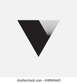 Triangle logo. Minimal geometry. Gray background. Stock vector.
