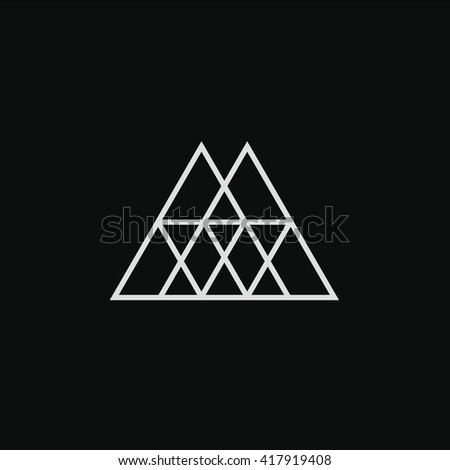 e33d0d317 Triangle logo. Minimal geometry. Tattoo. Black background. Stock vector.