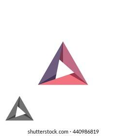 Triangle logo mockup tech shape geometric simple symbol, creative converge cycle idea business card emblem