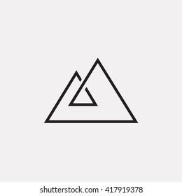 Triangle logo. Mount, Minimal geometry. Gray background. Stock vector.