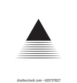 Triangle logo. Mountain shadow.. Minimal geometry. White background. Stock vector.