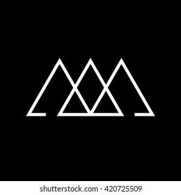 Triangle logo. Past, present, future. Minimal geometry. Black background. Stock vector.
